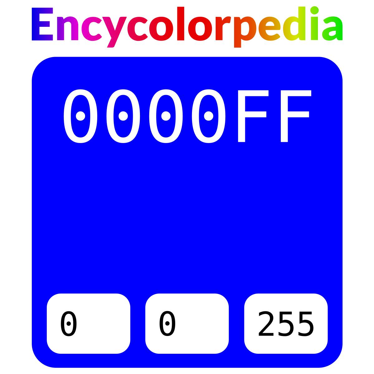 Farbpaletten Blau: Blue / Blau / #0000ff / #00f Hex-Farbcode-Schemas, Farben