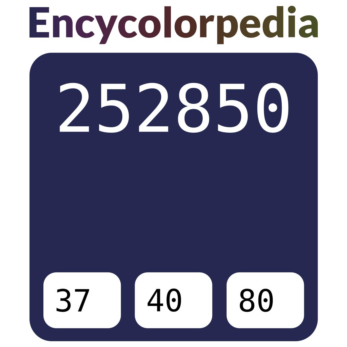 Farbpaletten Blau: Nachtblau / #252850 Hex-Farbcode-Schemas, Farben